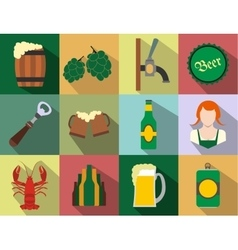 Beer flat icons set vector image