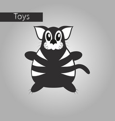 Black and white style icon toy cat vector
