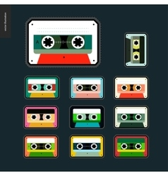 Cassette tapes patches flat set vector image