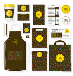 Coffee house template set with memphis pattern vector