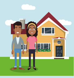 couple with house home image vector image vector image