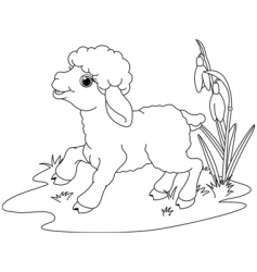 Easter lamb coloring page vector