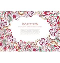floral ornament invitation background vector image vector image
