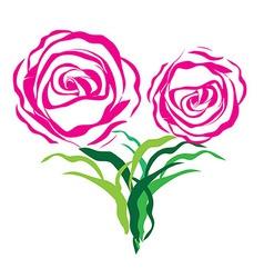 Flower love heart valentine day tattoo floral desi vector