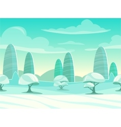 Funny cartoon winter landscape vector image