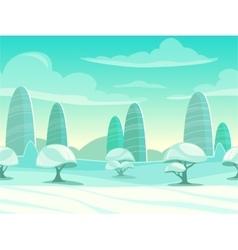 Funny cartoon winter landscape vector image vector image