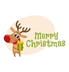 Funny Christmas reindeer in red scarf holding a vector image vector image