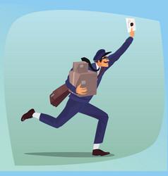 funny postman runs waving a letter vector image vector image