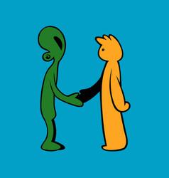 Handshake between alien and human vector