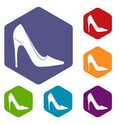 High heel shoe icons set hexagon vector