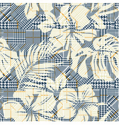 Houndstooth plaid with abstract hibiscus flowers vector