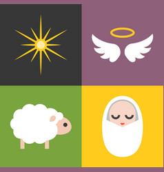Jesus born icons set vector