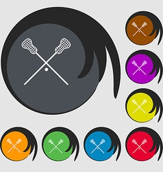 Lacrosse sticks crossed icon symbols on eight vector