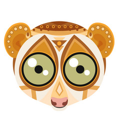 lemur head logo monkey decorative emblem vector image vector image