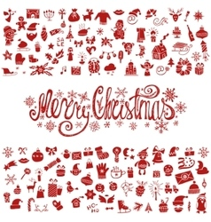 Merry christmas greeting cardicons silhouette vector