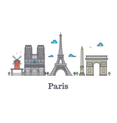modern france travel line landmark paris panorama vector image