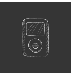MP3 player Drawn in chalk icon vector image vector image