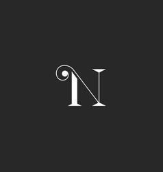 N letter monogram with thin lines swirl simple vector