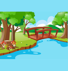 Nature scene with bridge crossing river vector