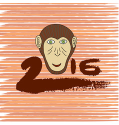 New year print monkey cartoon hand drawn symbol vector