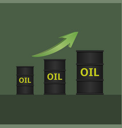 Oil barrels with green arrow vector
