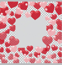 Red and pink translucent hearts arranged in a vector