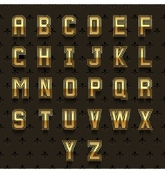 retro golden alphabet vector image vector image