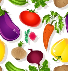 Seamless pattern of bright vegetables on a white vector image