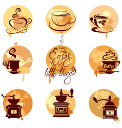 set 2 of coffee cups and coffeemills icons on vector image vector image