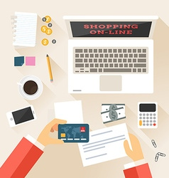 Shopping in Online Store Top View Flat Design vector image
