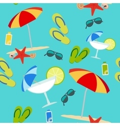 Summer seamless pattern on blue background vector