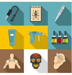 tattoo equipment icons set flat style vector image