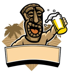 tiki hold a glass of beer vector image