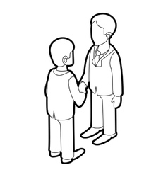 Two businessmen shaking hands icon outline style vector