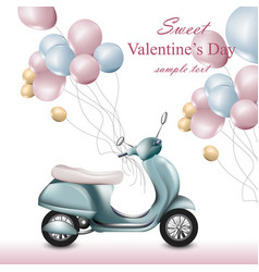 Valentines day card with scooter and balloons vector