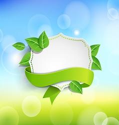 Vintage frame wit green ribbon vector image