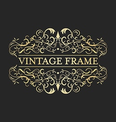 Vintage golden frame in vintage style Calligraphic vector image