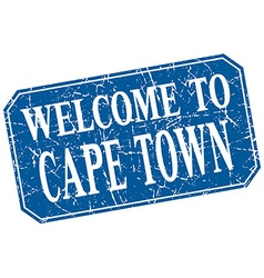 Welcome to cape town blue square grunge stamp vector