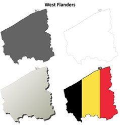 West flanders outline map set - belgian version vector