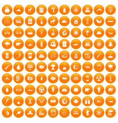 100 eco icons set orange vector