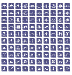 100 spring icons set grunge sapphire vector
