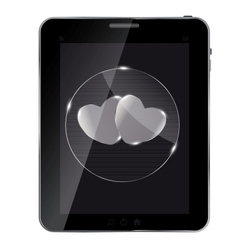 Heart glass button on tablet vector