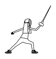Silhouette of girl fencing design vector