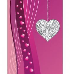 silver glitter love heart vector image