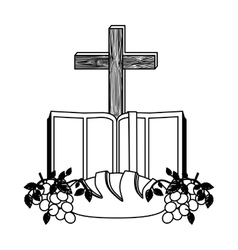 Monochrome contour with holy bible open with cross vector