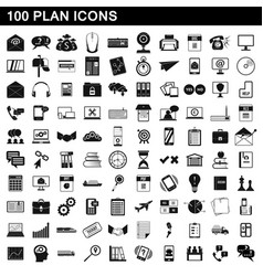 100 plan icons set simple style vector