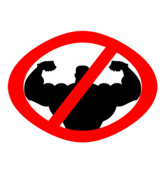Stop athlete ban bodybuilding prohibited fitness vector
