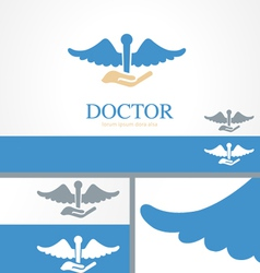 Hand Doctor Medical Health Logo Concept Template vector image