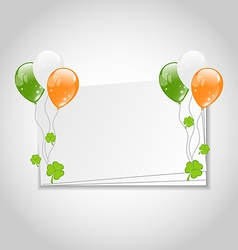 Celebration card with balloons in irish flag color vector
