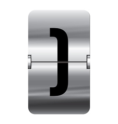 Alphabet silver flipboard letters brackets end vector